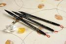 高級黑檀木鑲貝殼花經典胎毛筆3支,全手工打造,兼毫,可實際書寫。筆桿材質:黑檀木