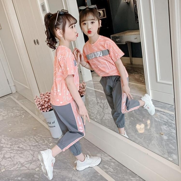 女童運動套裝 女童新款夏裝套裝兒童夏季運動大童裝女孩韓版洋氣時髦潮 雙11全館優惠特價~