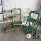 復古實木花架幾階梯落地式多層方形置物架子【君來佳選】
