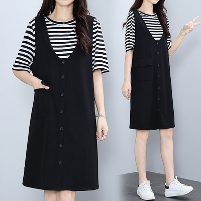 M-4XL胖妹妹大碼洋裝連身裙~胖MM加肥加大條紋背帶連身裙兩件套套裝女NB24E莎菲娜
