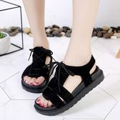 鞋子女新款夏季休閒鞋厚底松糕跟羅馬鞋綁帶露趾防滑女鞋涼鞋 ☸mousika