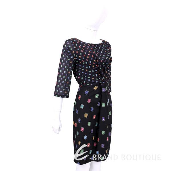 BOUTIQUE MOSCHINO 黑色彩鑽寶石扭結飾七分袖洋裝 1540307-94