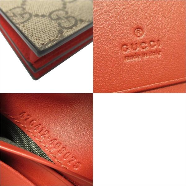 GUCCI 古馳 棕色GG老花帆布對折短夾 GG Supreme Rainbow Card Case Wallet BRAND OFF