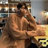 大碼高領毛衣男寬鬆秋冬素色針織打底衫【左岸男裝】