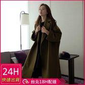 免運★梨卡 - 正韓國空運中長版毛呢長大衣-大牌高質感中長款大口袋立領毛呢外套大衣A138