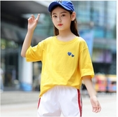 女童T恤短袖夏裝 2020新款兒童運動體恤中大童小女孩學生洋氣上衣 滿天星