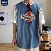 短袖t恤男士夏季潮流上衣運動假兩件寬鬆半袖大碼男裝【左岸男裝】