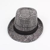 男帽子 紳士帽 韓版男女秋冬新款保暖加厚毛呢戶外休閒條紋英倫爵士帽子禮帽《印象精品》yx409