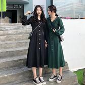 連身裙 【嘰咕嘰咕】大碼女裝法式復古少女收腰顯瘦小a連身裙2019春新款 生活主義