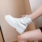 短靴高跟鞋白色馬丁靴女薄款潮中筒透氣顯腳...