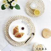 日式玉米皮草編加厚餐桌隔熱墊