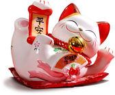 【金石工坊】平安躺貓(高20CM)招財貓 陶瓷開運風水擺飾 喬遷 新居落成 撲滿存錢筒