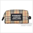 BURBERRY Appliqué Vintage白字LOGO帆布雙拉鍊釦式手提收納旅行包(典藏米)