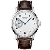 Longines浪琴 Master Collection 小秒針機械錶-白x咖啡/47mm L28414183