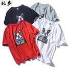 短袖T恤 2019新款圓領短袖男士卡通圖案印花寬鬆日系風潮牌休閒T恤上衣服 4色S-5XL