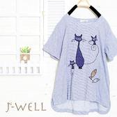 上衣 貓與魚細格紋上衣 8J1173 現貨 J-WELL