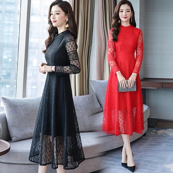 長袖洋裝秋季新款氣質鏤空長袖紅色蕾絲連衣裙女裝韓版顯瘦中長款裙子 全館免運