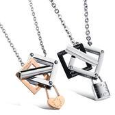 鈦鋼項鍊(一對)-緊鎖你的心生日情人節禮物情侶對鍊2色73cl30【時尚巴黎】