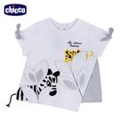 chicco-斑斑動物-拼接立體印繡短袖上衣