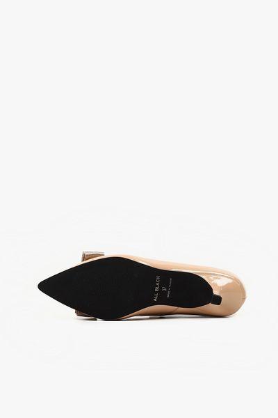 ALL BLACK    元釦蝴蝶弓跟鞋(米色)
