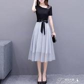 網紗洋裝 棉T新款裙子女夏季時尚中長款系帶a字修身顯瘦假兩件網紗連衣裙 快速出貨