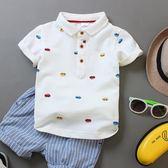 純色白色純棉翻領POLO衫中大童寶寶半袖