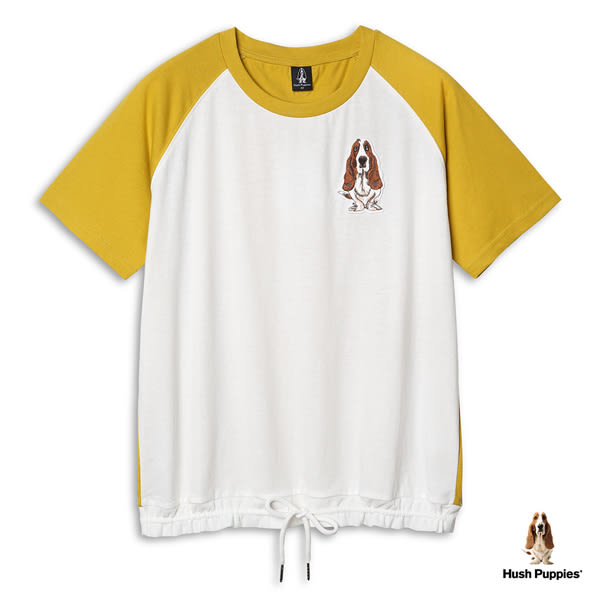 Hush Puppies T恤 女裝下襬抽繩刺繡狗棒球袖T恤