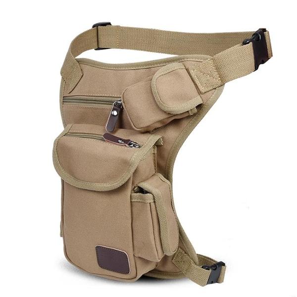 男士多功能帆布腿包軍迷戰術包戶外運動騎行腰包綁腿包工具包新款 黛尼時尚精品