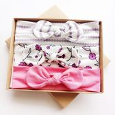 UNICO 兒童 歐美系髮帶禮盒裝-粉紫浪漫櫻花
