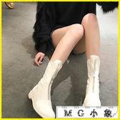 中筒靴 秋短靴前拉鏈真皮平底中筒靴百搭馬丁靴