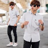 襯衫 棉麻質感細織紋合身版短袖襯衫【NB0849J】