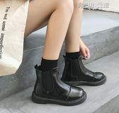 皮靴 鞋子女英倫風短靴皮面粗跟套腳短筒靴學院風學生馬丁靴女 育心小賣鋪