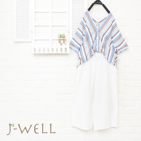 J-WELL 渡假感彩條紋素面好感寬褲兩件組 (組合A26  8J1565藍條F+8J1503白F)