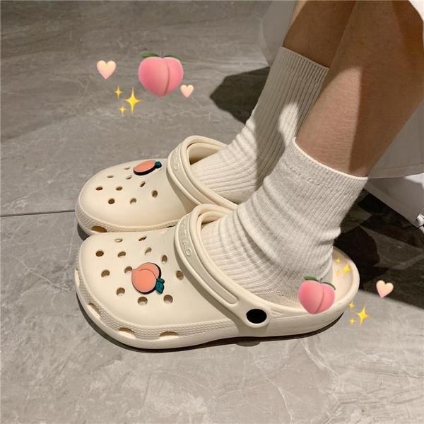 拖鞋女夏外穿少女心可愛包頭護士涼鞋軟底沙灘鞋洞洞鞋男 夢幻小鎮