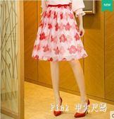 中大尺碼雪紡短裙夏女印花百褶裙半身裙傘裙 nm5535【pink中大尺碼】