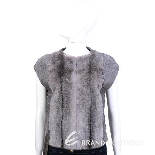 GRANDI furs 灰耦色皮草短袖小外套 1440005-06