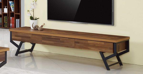 【森可家居】茉莉6.5尺集層柚木三抽長櫃 7JF218-1 電視櫃 木紋質感 工業風