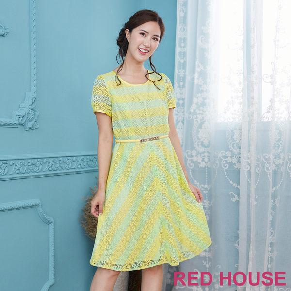 Red House 蕾赫斯-花朵條紋蕾絲洋裝(檸檬黃)