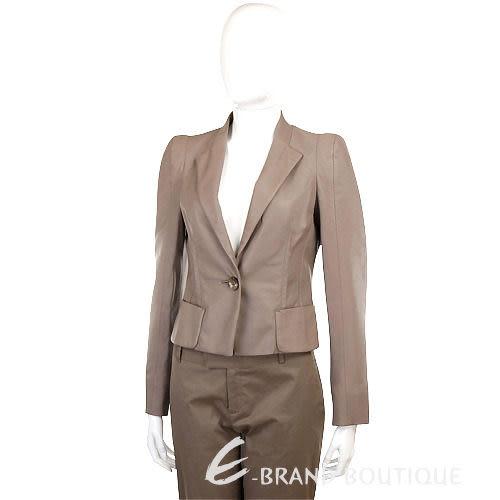 SCHUMACHER 灰棕色單釦西裝式皮衣 1040011-06