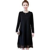 大碼洋裝 200斤大碼女秋冬裝媽媽款遮肚子顯瘦蕾絲打底長袖加絨加厚連身裙  芊墨左岸 上新