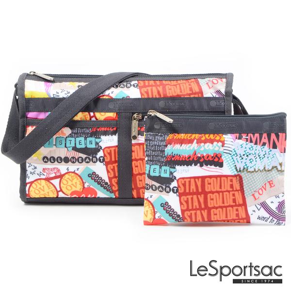 LeSportsac - Standard雙口袋斜背包-附化妝包(街頭塗鴉) 7519P F543