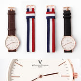 范倫鐵諾Valentino 超薄簡約線條玫瑰金皮革手錶 雙錶帶組合帆布【NE1849】單支售價