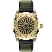 【台南 時代鐘錶 ZINVO】BLADE GOLD 前衛設計強烈風格手錶 皮帶 金/墨綠/黑 44mm 公司貨保固兩年