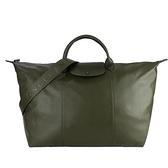 【南紡購物中心】LONGCHAMP Le Pliage Cuir 系列小羊皮寬背帶短把折疊旅行包(墨綠)