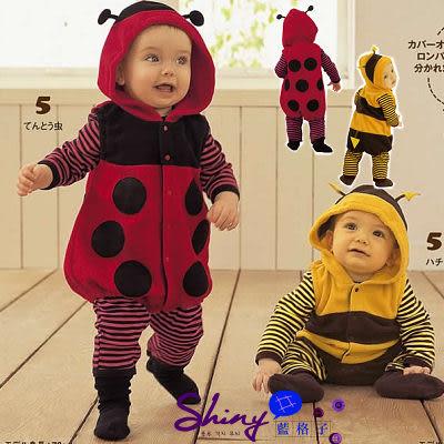 【TZ124】shiny藍格子-蜜蜂瓢蟲造型哈衣爬服連身褲
