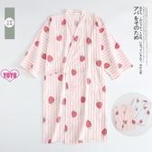 YoYo 和服睡衣 睡裙 針織棉睡衣 日式 長袖 家居服 居家服
