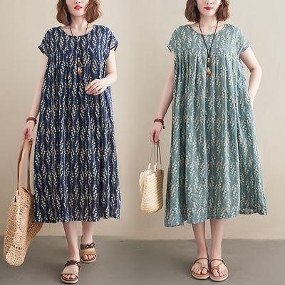 胖妹妹大碼洋裝連身裙~棉麻洋裝連身裙~胖MM短袖大擺中長款復古印花連身裙女6745.MC005衣時尚