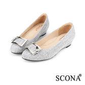 SCONA 優雅百搭方扣楔型鞋 淺灰色 22535-1