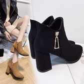 裸靴 增高短靴女秋冬季黑色馬丁靴女2021新款粗跟女短筒高跟鞋顯瘦裸靴 寶貝計畫