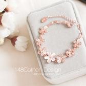 韓國進口清新氣質甜美貓眼石粉櫻花朵微鑲水鉆玫瑰金手鏈閨蜜禮物